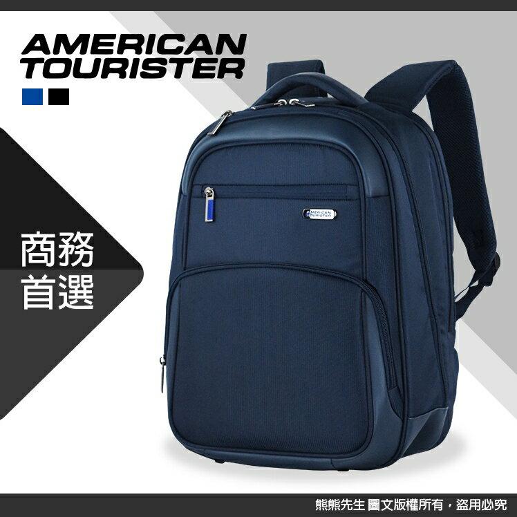 《熊熊先生》新秀麗 American tourister 美國旅行者 15.6吋電腦商務包 大容量筆電後背包 AS4 附原廠防雨套 可插掛拉桿 大開口雙肩包ESSEX