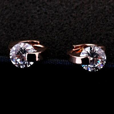 玫瑰金耳環925純銀水晶耳飾~簡約迷人潮流 七夕情人節 女飾品2色73gs237~ ~~米