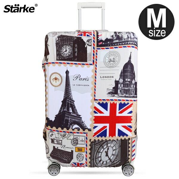 E&J【015002-11】Starke 高彈性行李箱套 -復古歐洲(M);適用適用23-26吋/防塵套/行李箱保護套