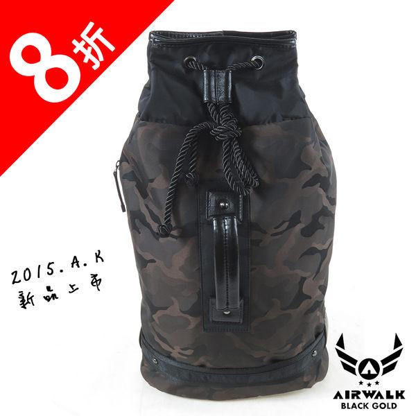 AIRWALK- 【禾雅】頂級黑金皮標 2015年最新上市 狂野迷彩系列 防潑水 束口單肩包/後背包 - 迷彩棕