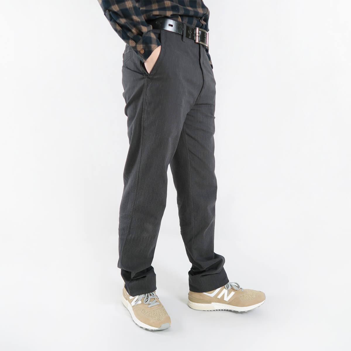 加大尺碼精梳棉平面休閒長褲 顯瘦長褲 彈性長褲 斜口袋條紋長褲 版型修飾腿型更顯修長 COMBED COTTON CASUAL PANTS FLAT FRONT STRAIGHT PANTS SLIM PANTS (321-1071-01)黑色 腰圍30~41(英吋) [實體店面保障] sun-e 2