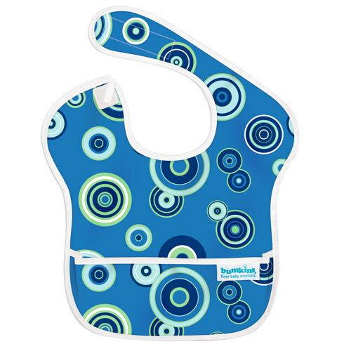 【淘氣寶寶】2016年最新 美國Bumkins防水兒童圍兜(一般無袖款6個月~2歲適用)-藍色普普 【保證公司貨】