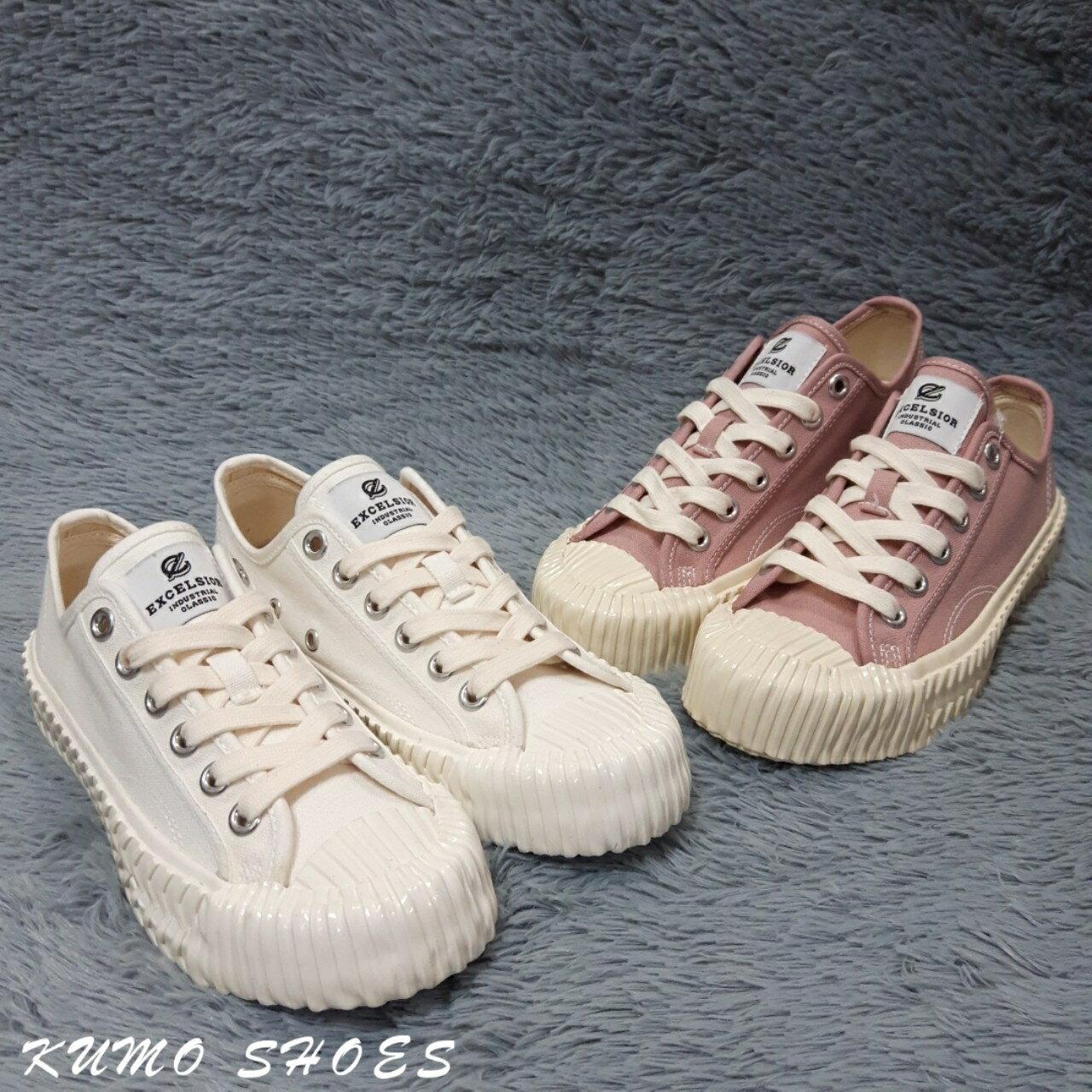 EXCELSIOR 饼干鞋 全白 粉紫色 白厚底帆布鞋 女鞋 韩国限定