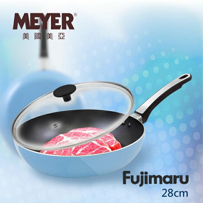 【MEYER】美國美亞Fujimaru藍珊瑚單柄不沾平煎鍋28CM+玻璃蓋(SET_16445)