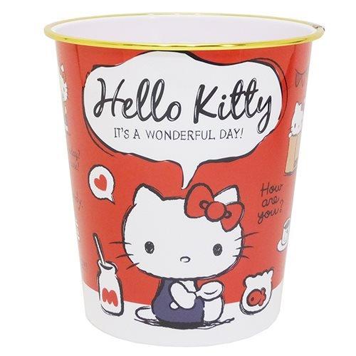 X射線【C422677】Hello Kitty 垃圾桶(金邊),垃圾筒/雜物桶/水桶/分類桶/資源回收桶/廚餘桶