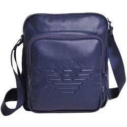 ARMANI JEANS 品牌字母大鷹圖騰LOGO斜背包(藍色系)