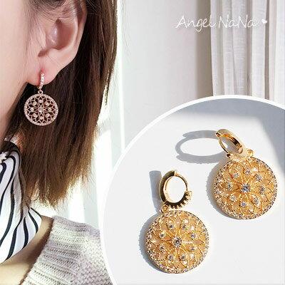 耳環《可改耳夾式》《可改S925銀針》復古宮廷風幾何水鑽鋯石耳針【RA0085】