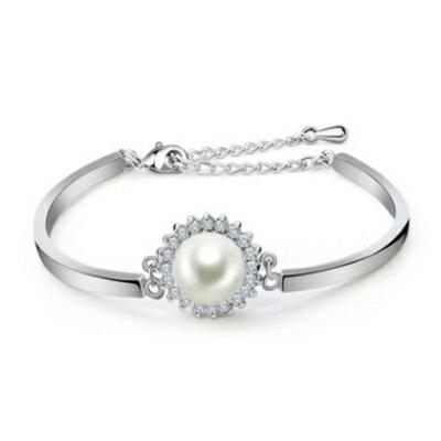 ~純銀手鍊 鍍白金鑲鑽手環~ 華麗亮眼迷人生日情人節 女飾品73cv55~ ~~米蘭 ~