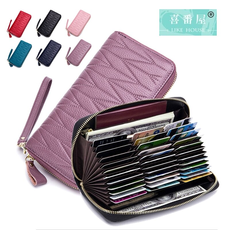 【喜番屋】真皮頭層牛皮36卡位女士壓紋皮夾皮包錢夾零錢包長夾女包女夾護照包證件包卡片包卡片夾【LH548】