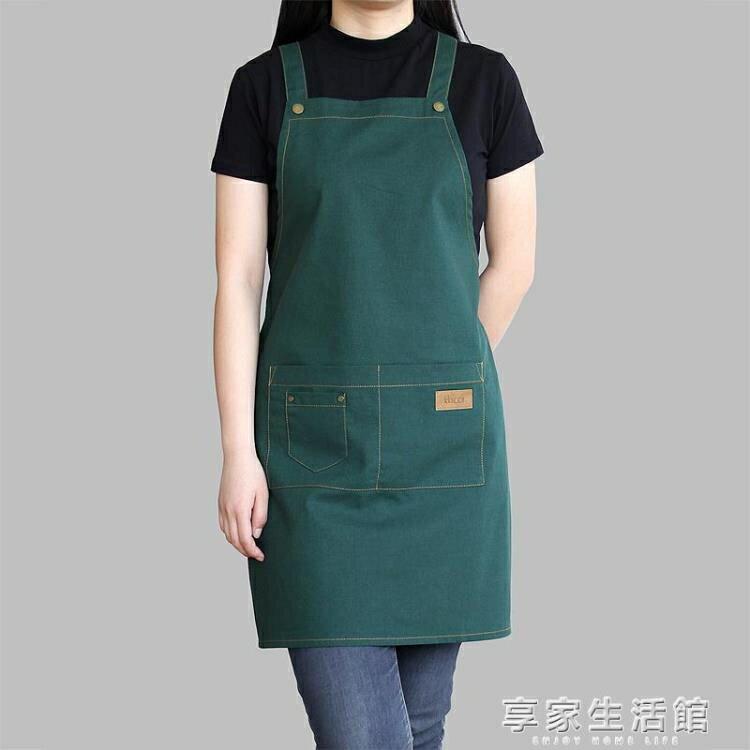 夯貨折扣! 圍裙棉麻奶茶咖啡店烘焙美甲時尚男女工作服亞麻工作圍裙
