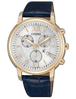 CITIZEN星辰錶FB1432-21AxC花漾羅馬光動能三眼計時女錶藍38mm