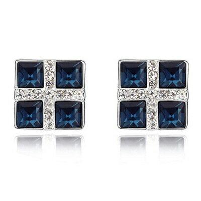 ~水晶耳環 925純銀耳飾~正方形鑲鑽 精緻女飾品4色73bd49~ ~~米蘭 ~