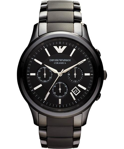 EMPORIO ARMANI/AR1452時尚黑陶腕錶/黑面43mm