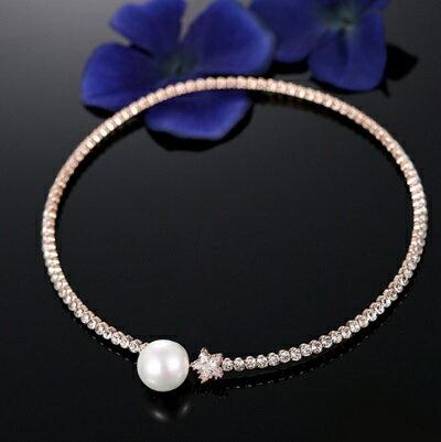 玫瑰金項鍊 珍珠純銀吊墜~ 氣質鑲鑽小星星七夕情人節 女飾品73dw84~ ~~米蘭 ~