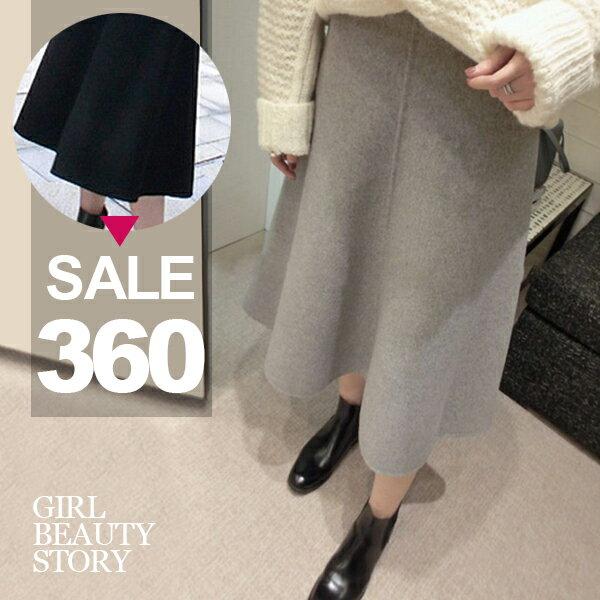 SISI~P7004~復古氣質高腰厚實 顯瘦大襬加厚羊毛呢半身長裙