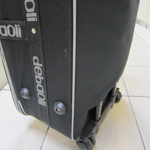 ~雪黛屋~debaoli 18寸小型輕量可加大行李箱 硬式蜂巢板 平穩好推拉防水尼龍布鋁合金拉桿黑