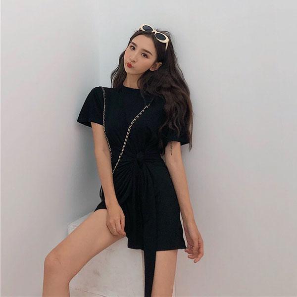 腰綁帶皺折長版T棉質洋裝連身裙連衣裙彈性顯瘦休閒運動個性ANNAS.