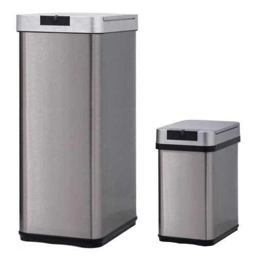 2pk Automatic Stainless Steel Trash Can 13 Gallon And 2 4 0