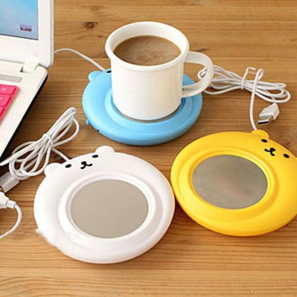 庫奇小舖:USB愛的小熊咖啡馬克杯保溫碟保溫座暖手寶保溫杯墊【庫奇小舖】