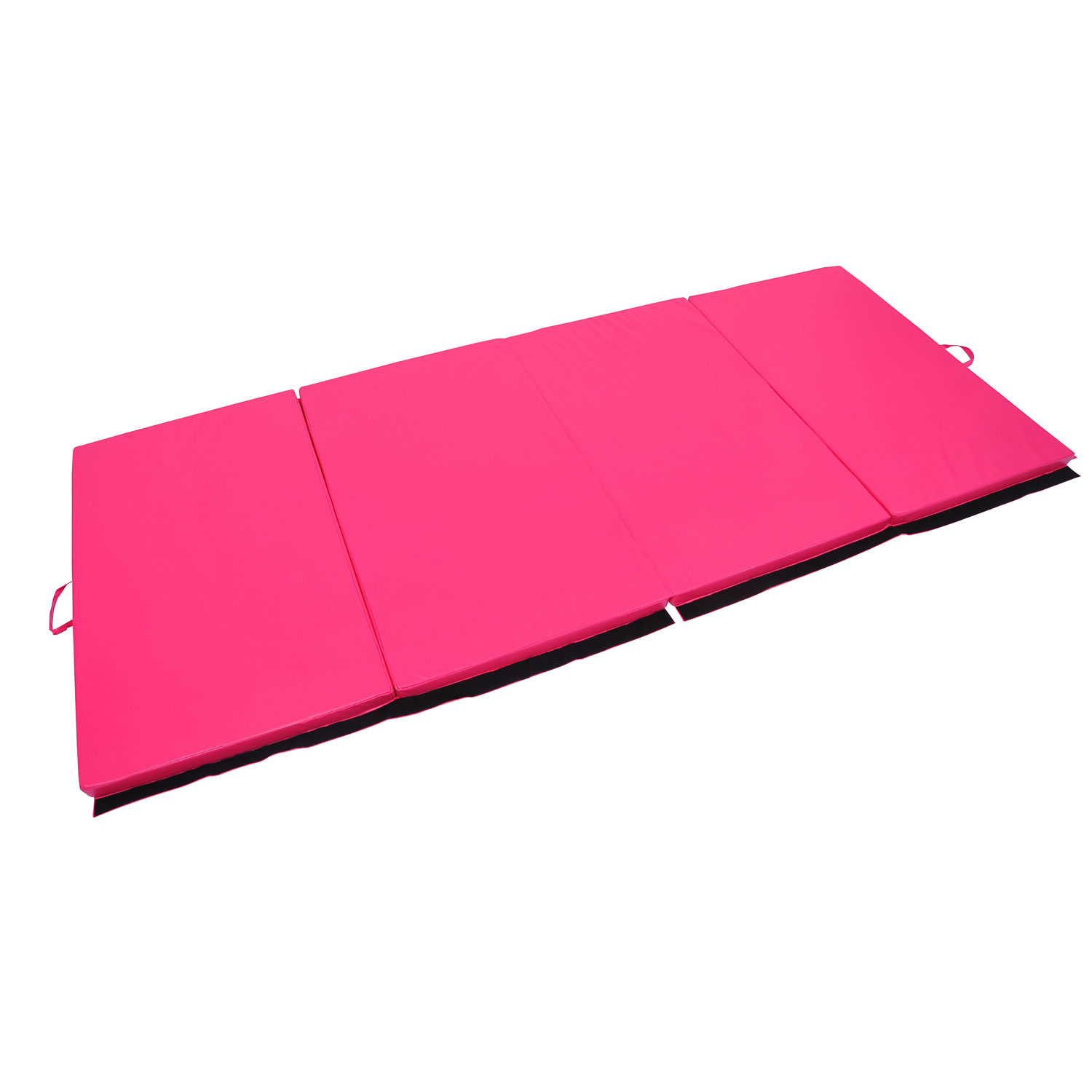 "Soozier 10' x 4' x 2"" PU Leather Folding Gymnastics Tumbling / Martial Arts Mat with Handles - Pink 0"