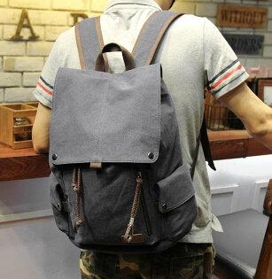 FINDSENSEZ1韓國時尚潮男帆布休閒旅行包電腦包學生包書包後背包雙肩包