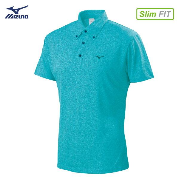 32TA802132(湖水藍)吸汗快乾材質合身版型男短袖POLO衫【美津濃MIZUNO】
