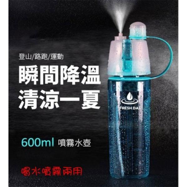 運動噴霧兩用水壺600ml(淺藍淺綠)