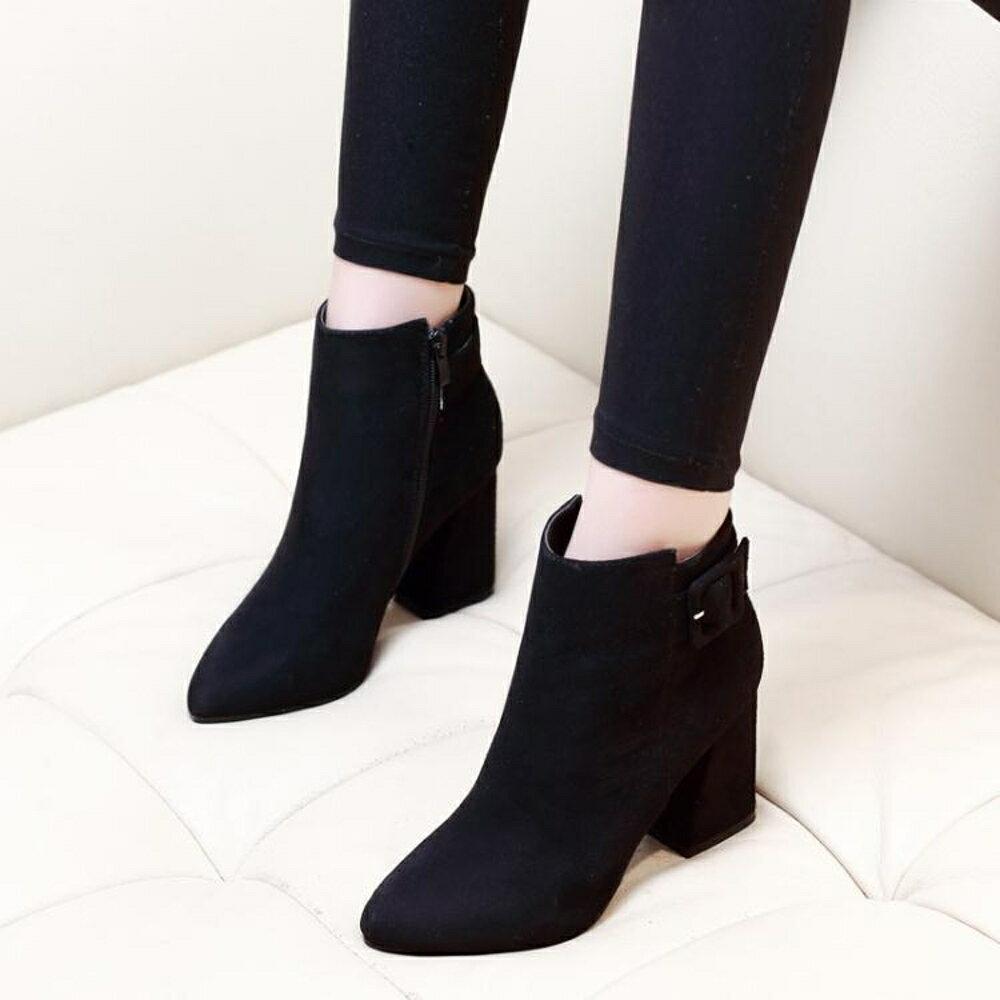 百搭馬丁靴女絨面尖頭磨砂高跟裸靴短筒靴粗跟短靴 名購居家 雙12購物節