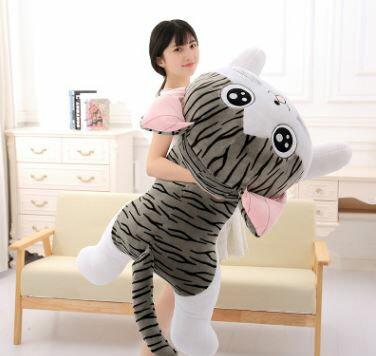 美麗大街【HB107031202E3】起司貓睡姿小奇公仔甜甜私房貓玩偶毛絨玩具(80cm)