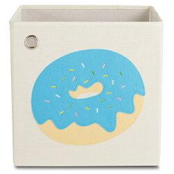 (1800折200) 美國kaikai & ash 收納箱 - 藍莓優格甜甜圈  摺疊收納箱 玩具收納箱 / 整理箱 / 設計風 / 棉麻 / 不織布