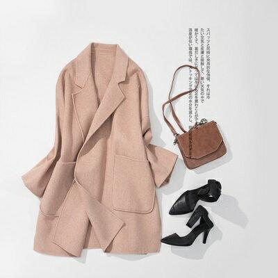 毛呢外套羊毛大衣-寬鬆無扣大口袋秋冬女外套2色73ty68【獨家進口】【米蘭精品】