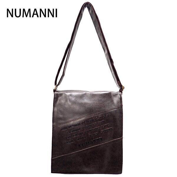 15-9013a【NUMANNI 奴曼尼】大款街頭熱賣皮革側背包 (深咖)