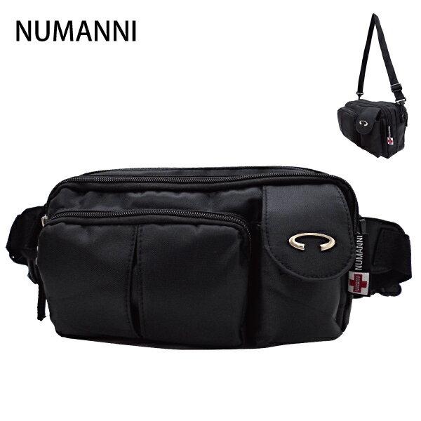 25-9038【NUMANNI 奴曼尼】大容量多功能2way尼龍腰包 (黑)