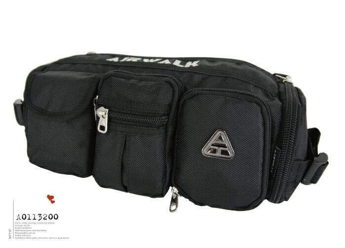 <br/><br/> A1113001【美國AIRWALK】多口袋式休閒尼龍腰包 (二色)<br/><br/>