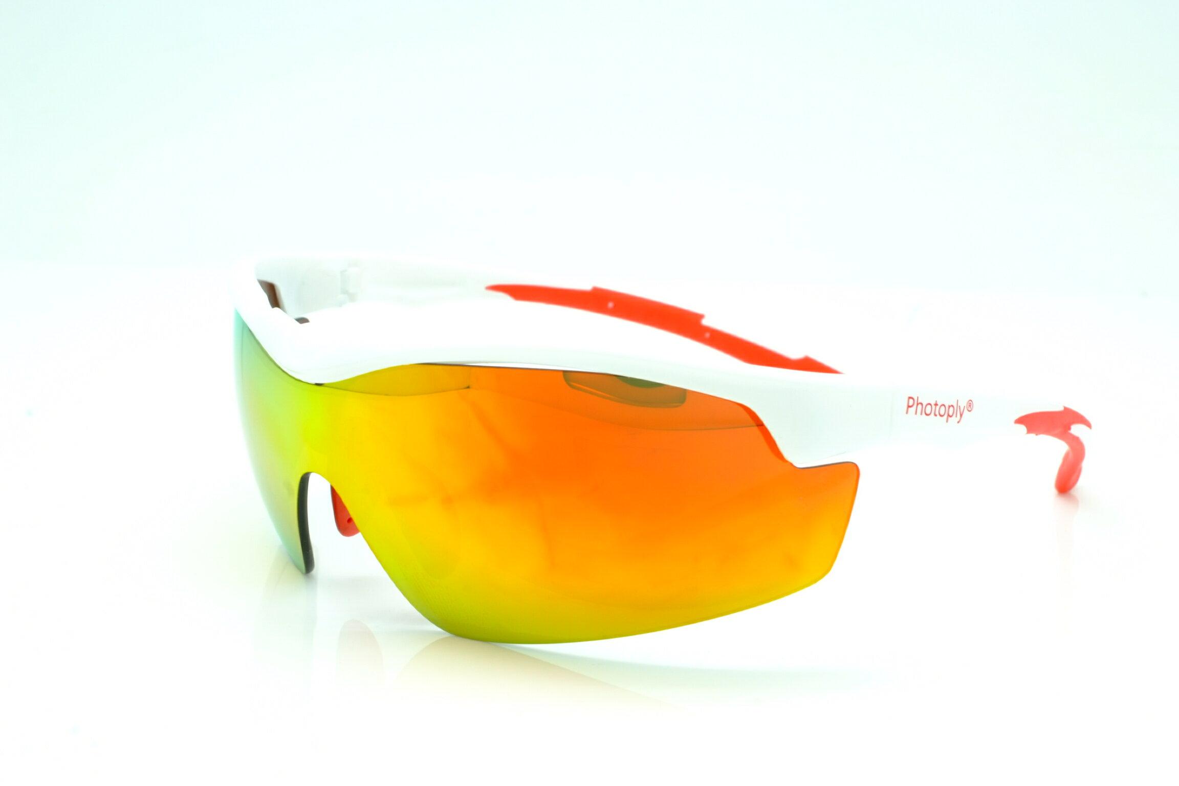 又敗家@台灣制造PHOTOPLY運動太陽眼鏡Wind(白色鏡框+防紅外線鏡片UV紫外光鏡片)合乎亞州人臉型貼身眼鏡太空防爆眼鏡防風眼鏡適開車單車慢跑步馬拉松外務