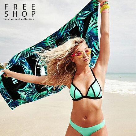 Free Shop:FreeShop純棉蓬鬆夏日繽紛游泳海灘浴巾大浴巾毛巾沙灘巾PINK柔軟速乾海灘巾南洋風【QAAMG7077】