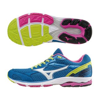 路跑訓練!WAVE AERO 14 (W) 女慢跑鞋 J1GD153502(藍X白)S【美津濃MIZUNO】