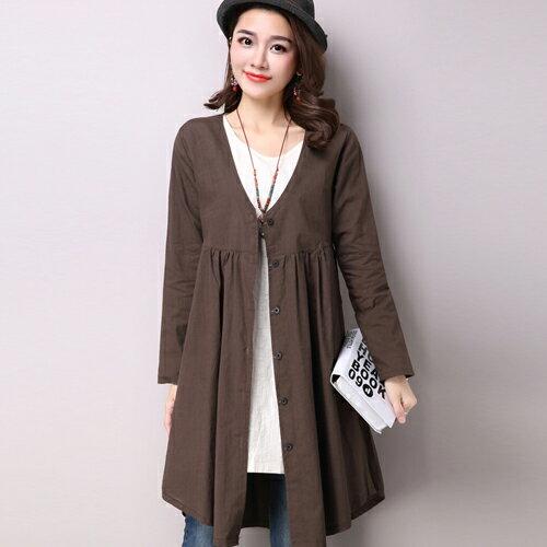 罩衫外套 - 純色V領開衩長袖罩衫洋裝【29209】藍色巴黎《2色》現貨 + 預購 1