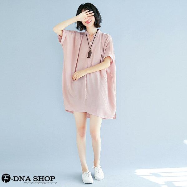 加大尺碼★F-DNA★溫柔雪紡短袖連衣裙洋裝(粉-大碼F)【EG22060】 6