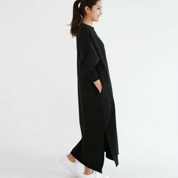 *漂亮小媽咪*寬鬆時尚慵懶蝙蝠袖純色長裙長洋裝長版T孕婦裝加大碼黑色D9501