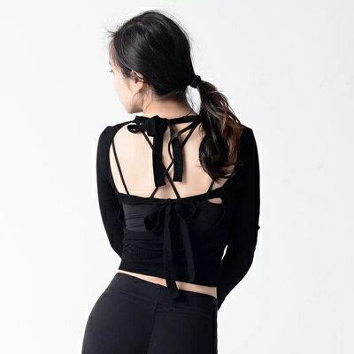 瑜珈服長袖上衣-短款綁帶美背彈力女運動服3色73rh20【獨家進口】【米蘭精品】