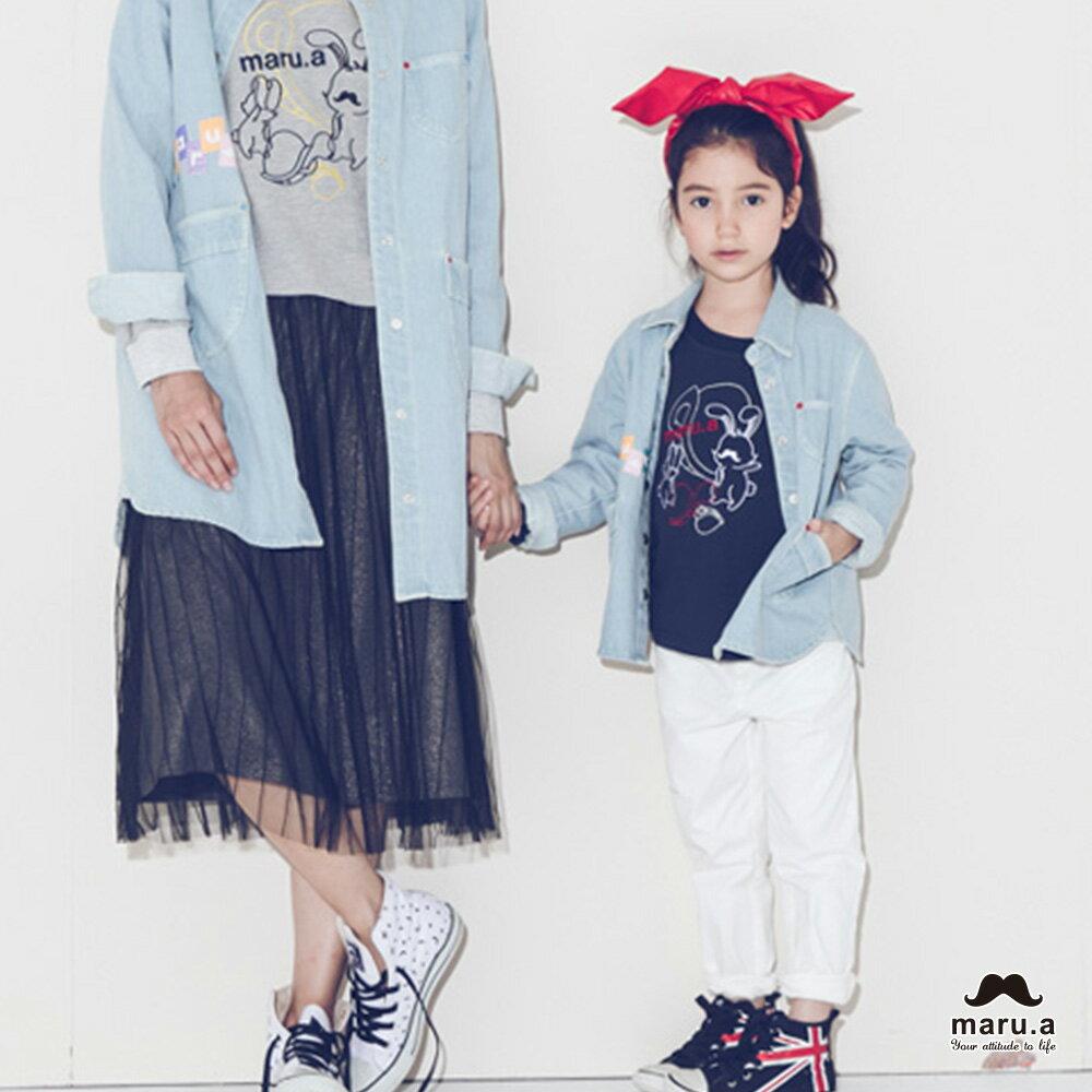 【mini maru.a】童裝親子裝彩色方塊印花長版牛仔襯衫(2色)7953211 6