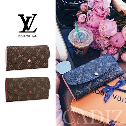 法國正品 Louis Vuitton EMILIE WALLET 經典印花粉紫紅色牛皮長夾 M60697