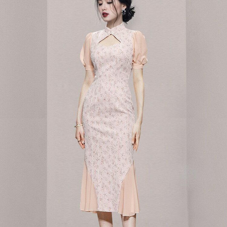 跨境女裝2021新款名媛改良旗袍修身顯瘦魚尾泡泡袖繡花氣質連衣裙