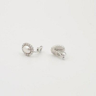 ~925純銀耳環鑲鑽耳飾~古典優美珍珠 情人節生日 女飾品2色73hz52~ ~~米蘭 ~
