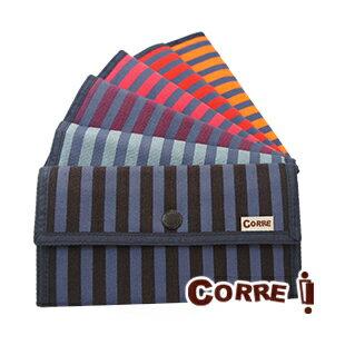 CORRE台湾手工帆布包:CORRE【PG030】帆布條紋印刷長夾-藍灰黑色橘色桃紅紅色紫色共五色