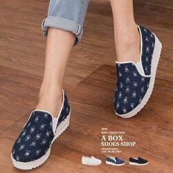 【KW2752】MIT台灣製 韓版摩登時尚 破壞刷破牛仔布 4CM厚底休閒帆布鬆糕鞋 3色