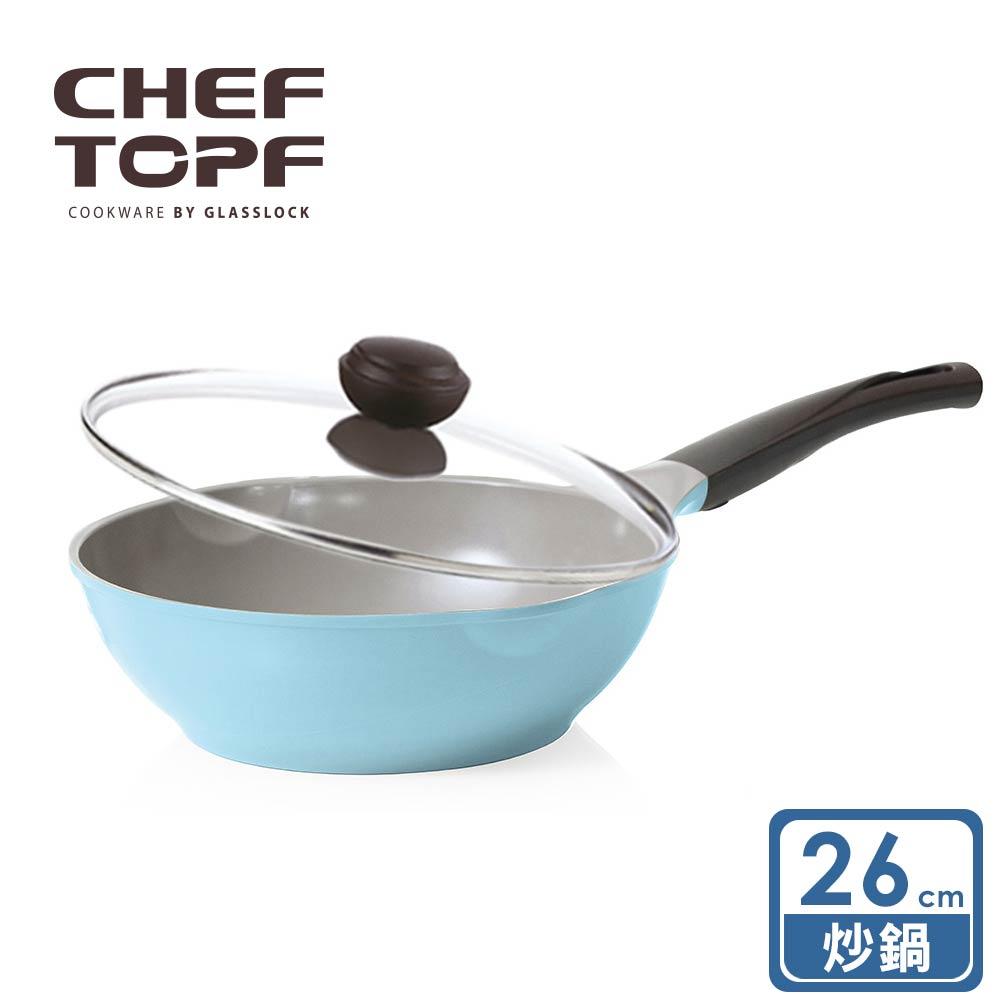 韓國 Chef Topf La Rose玫瑰薔薇系列26公分不沾炒鍋 (附玻璃蓋)/韓國製造/不沾鍋/洗碗機用/最美鍋具 0