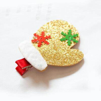 X射線【X020009】金蔥手套髮夾,聖誕節/髮夾/帽夾/飾品/聖誕樹/派對/化妝舞會/表演道具/話劇/髮圈
