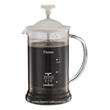 金時代書香咖啡 TIAMO 多功能法式玻璃濾壓壺 650cc SGS合格 HG2110W - 限時優惠好康折扣